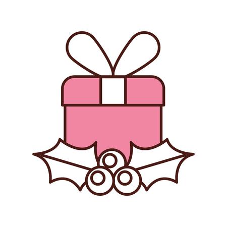 kerst cadeau vak verpakt lint bessen en bladeren vector illustratie