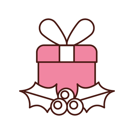 christmas gift box wrapped ribbon berry and leaves vector illustration