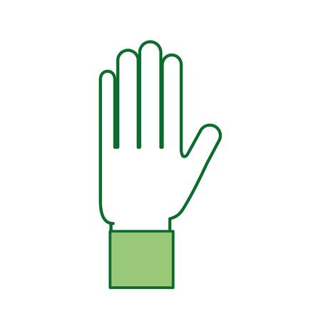 Hand showing five finger gesture icon vector illustration.