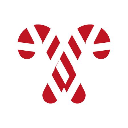 Kerstmis twee snoep suiker munt zoete vector illustratie