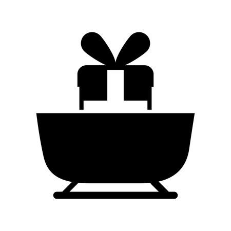 christmas sledge with gift box ribbon decoration vector illustration
