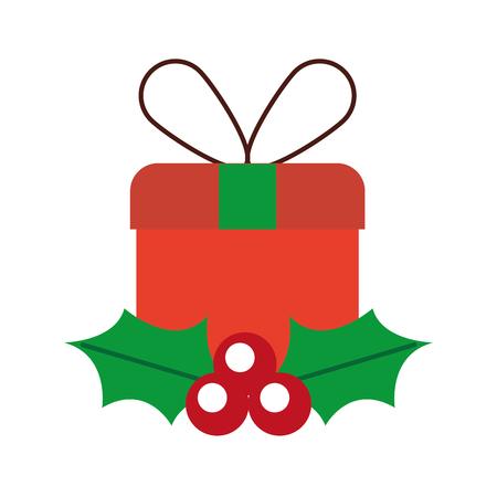 크리스마스 선물 상자 래핑 된 리본 베리와 나뭇잎 벡터 일러스트 레이 션 일러스트