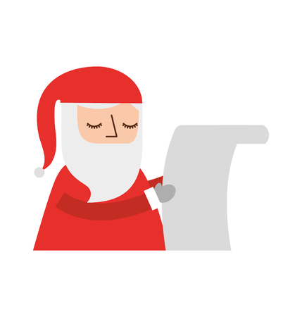 santa claus reading a long list of gifts vector illustration
