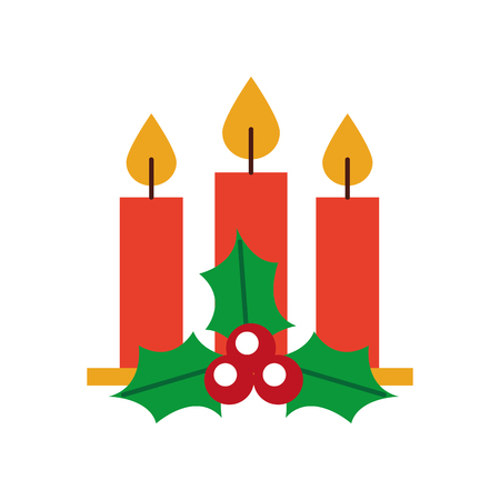 Navidad tres vela holly berry deja quema ilustración de vector de decoración Foto de archivo - 88431161