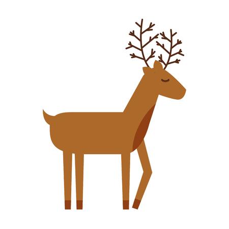 Noël renne animaux cornes drôle décoration illustration vectorielle Banque d'images - 88424512