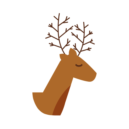 christmas reindeer animal horned funny decoration vector illustration