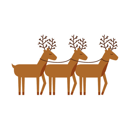 christmas three reindeer animal horned funny vector illustration