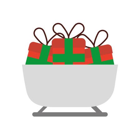 クリスマスそりによるギフト ボックス装飾ベクトル図
