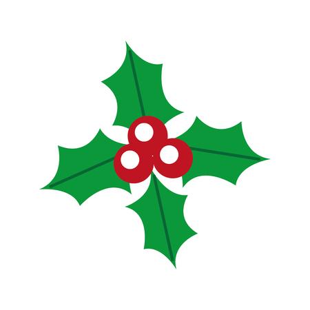 christmas holly berry leaves decoration ornate vector illustration Illustration