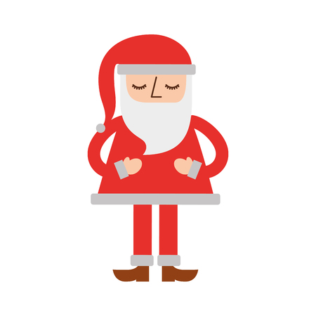christmas santa claus standing character vector illustration