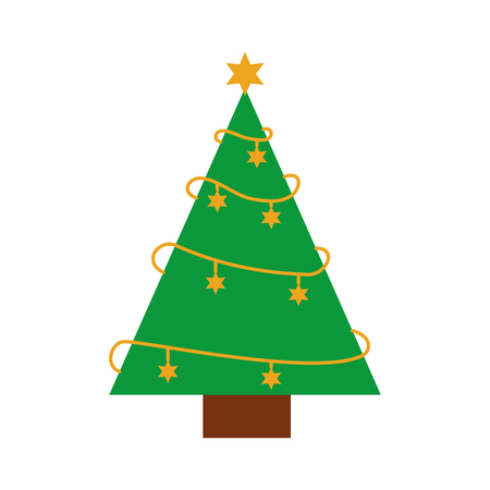 christmas tree pine star decoration ornament design vector illustration