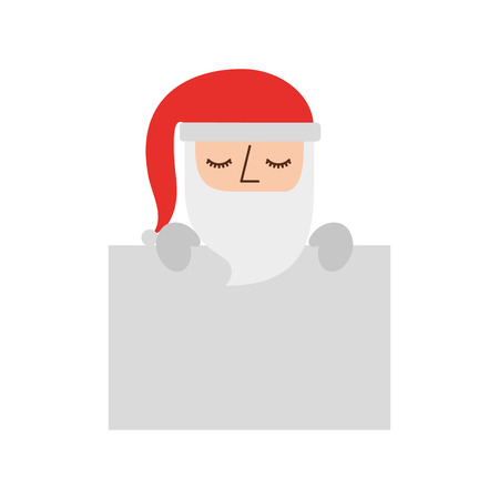 cute santa claus with  hat holding banner blank vector illustration Illustration
