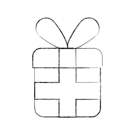 christmas gift box wrapped ribbon celebration vector illustration