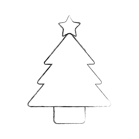 christmas tree pine decoration ornament design vector illustration Çizim