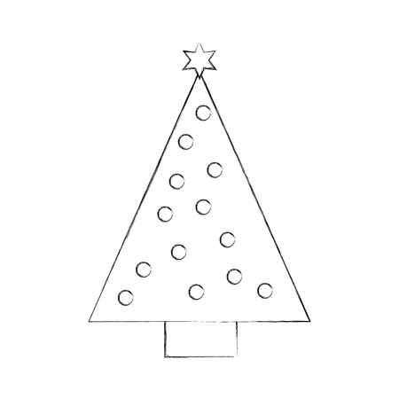 christmas tree pine star ball decoration ornament design vector illustration