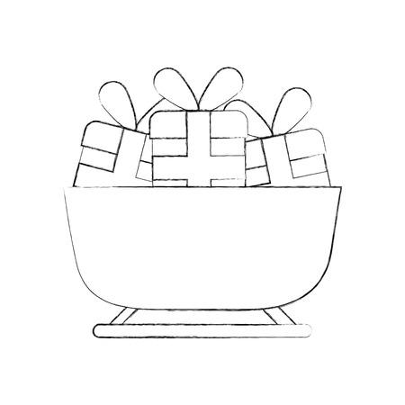 christmas sledge full gifts box decoration vector illustration Illustration