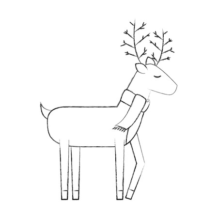 christmas reindeer animal horned funny vector illustration 版權商用圖片 - 88426830