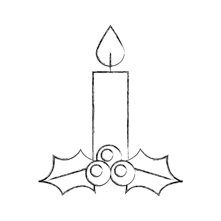 クリスマスキャンドル燃えるお祝いの装飾ベクトルイラスト