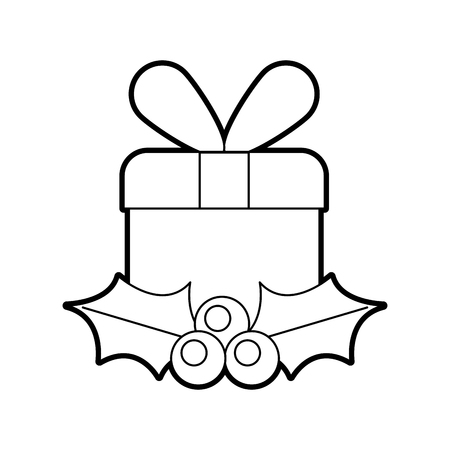 christmas gift box wrapped ribbon berry and leaves vector illustration 版權商用圖片 - 88484216