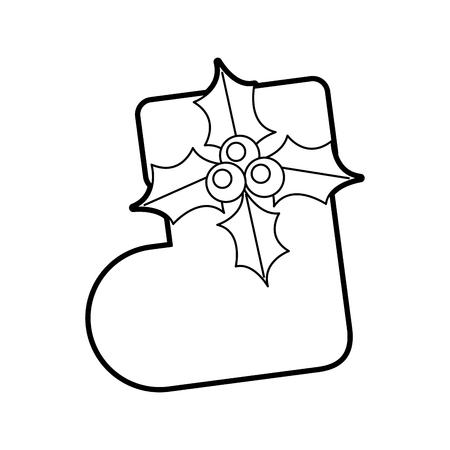 christmas sock flower surprise decoration ornate vector illustration