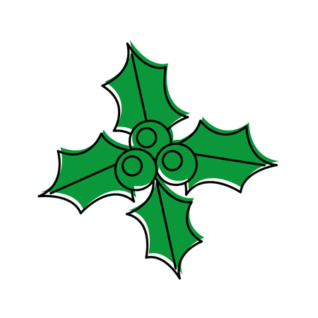 christmas holly berry leaf decoration ornate vector illustration Illustration