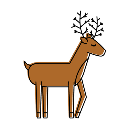 cute: christmas reindeer animal horned funny vector illustration