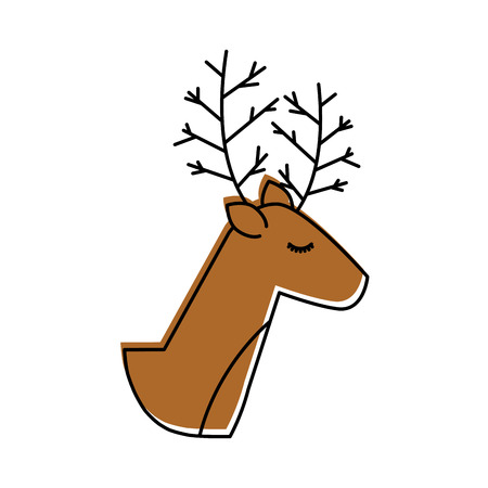 christmas reindeer animal horned funny vector illustration