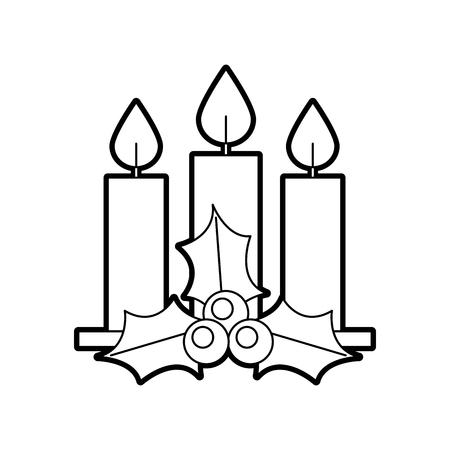 크리스마스 3 촛불 홀리 베리 나뭇잎 레코딩 장식 벡터 일러스트 레이션