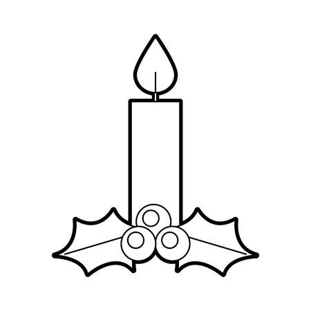 christmas candle burning celebration decoration vector illustration