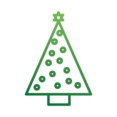 christmas tree pine star ball decoration ornament design vector illustration