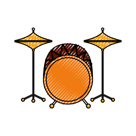 battery instrument musical drums icon vector illustration