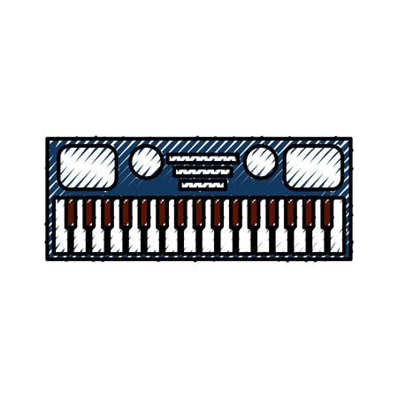 Synthétiseur électronique clavier d & # 39 ; application de clavier sur fond blanc illustration vectorielle Banque d'images - 88431403
