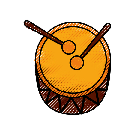 drum and drumsticks bass music top view icon vector illustration
