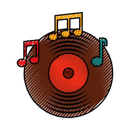 Musique vinyle disque note musique son vintage vector illustration Banque d'images - 88431914