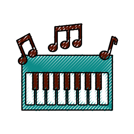 synthesizer note music electronic instrument keyboard vector illustration 向量圖像