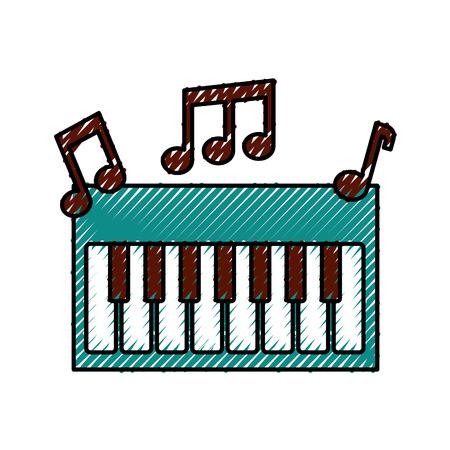 synthesizer Opmerking muziek elektronisch instrument Toetsenbord vector illustratie