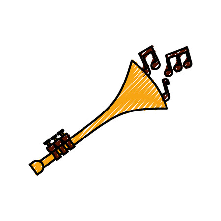 trumpet notes wind musical instrument horn vector illustration