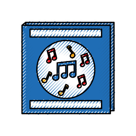 envelope for music album note musical flat design vector illustration Ilustração