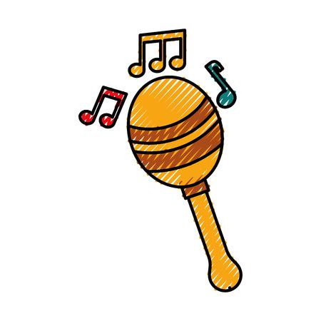 maraca note music instrument musical festival celebration vector illustration