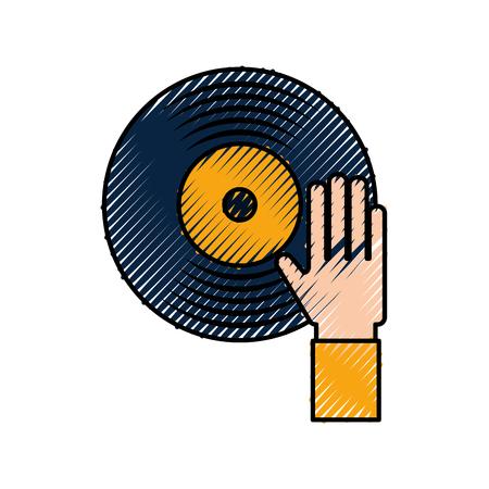Hand berühren Vinyl-Musik-Disk-Unterhaltung-Vektor-illustration Vektorgrafik