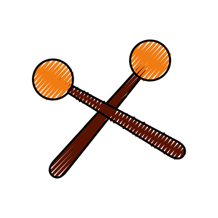 wooden sticks music percussion acoustic equipment vector illustration Çizim