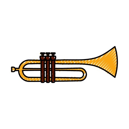 trumpet instrument musical festival celebration vector illustration