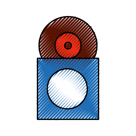 music collection album cover with vinyl record disk in papercase vector illustration