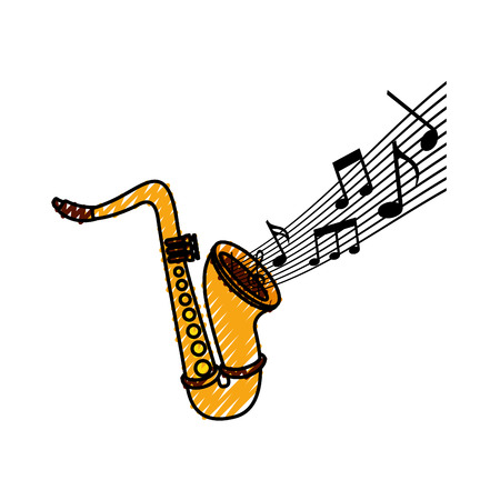 saxophone note music jazz instrument festival vector illustration