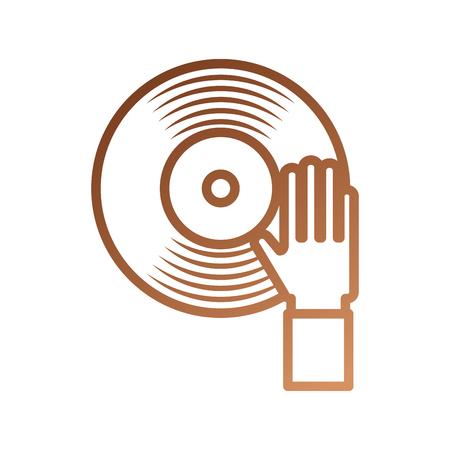 手タッチ ビニール音楽ディスク エンターテイメント ベクトル図  イラスト・ベクター素材