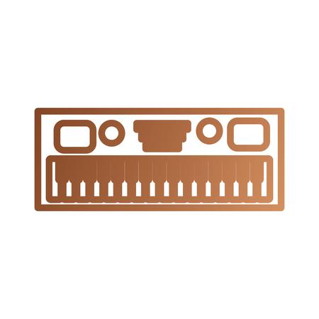 白い背景のベクトル図の音楽シンセサイザーの電子楽器キーボード  イラスト・ベクター素材