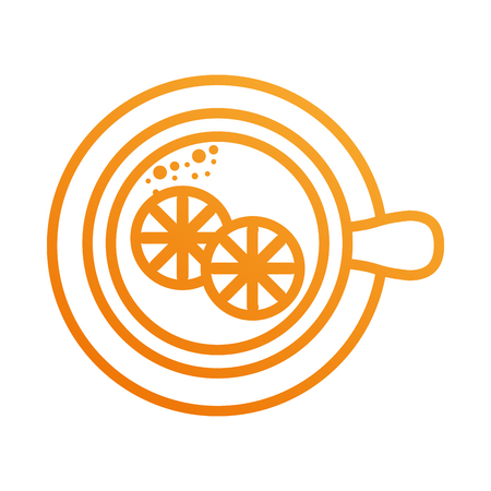 cup of tea with slice orange refreshment liquid vector illustration