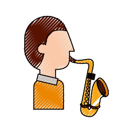 musician character saxophone jazz music festival vector illustration Çizim