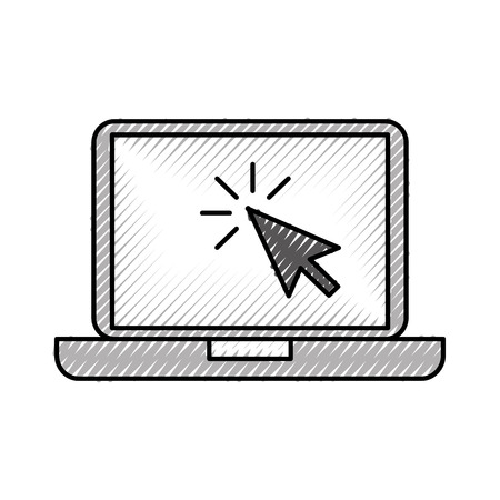 laptop technology arrow cursor point select vector illustration