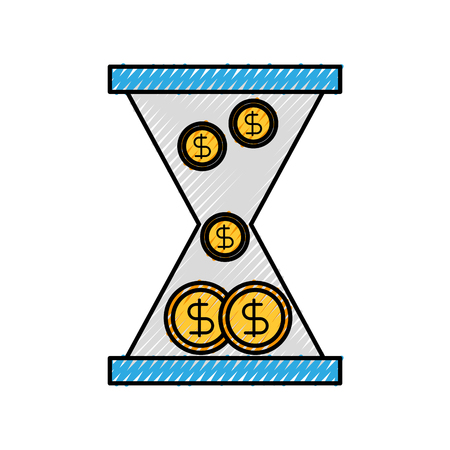 business glass clock with money dollar coins time vector illustration